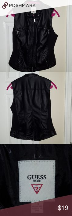 Guess faux leather vest Beautiful faux leather and cotton sides for stretch to fit snug... silver details and accents... worn once.. in excellent condition smoke and pet free home Guess Other