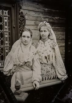 Prinsess Marie of Romania with a lady in waiting (?) both in typical romanian folk dresses