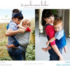 Petite Echarpe Sans Noeud - Gris Chiné, Bleu Canard (reversible)   Love  Radius, by JPMBB ®   Porte bébé sling 64fc95ac0cd