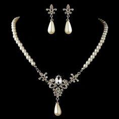 Vintage Look White Pearl and Rhinestone Fleur de Lis Wedding Jewelry - Affordable Elegance Bridal -