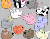 Peppa Pig Party Photo Booth Props-3, Peppa Pig Friends Party Photo Props