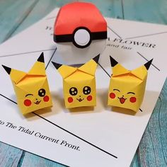 This cute and tiny Pikachu cube in origami is for all the pokemon fans out there! It's really easy to make and all you guys will like it! for guys Origami Pikachu Balloon Easy for Kids Instruções Origami, Origami Simple, How To Make Origami, Origami Balloon, Balloon Crafts, Origami Videos, Origami Butterfly, Easy Origami For Kids, Balloon Balloon