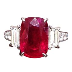 Cushion Shape Vivid Natural Ruby and Diamond Ring   From a unique collection of vintage three-stone rings at http://www.1stdibs.com/jewelry/rings/three-stone-rings/