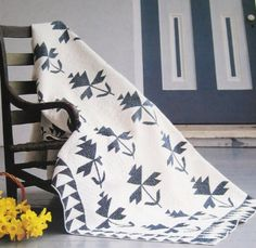 "Blue and white ""English Ivy"" quilt"