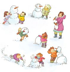 Speaking or writing prompt. Building snowmen in the winter!