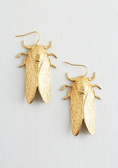Magicicada Earrings - Gold, Casual, Boho, Statement, Best Seller, Quirky, Summer, Print with Animals, Gold, Critters, Good, 4th of July Sale, Top Rated