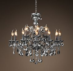 19Th C. Rococo Iron & Crystal Chandelier Large Smoke  Not normally a chandelier person, but do love the smokey gray ones!