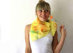 Yellow Silk Scarf  Sunflowers Hand Painted Silk by TheSilkMoon, $40.00