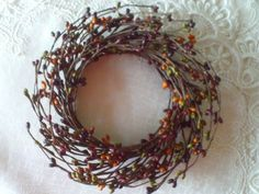 """4"""" Pip Berry Candle Ring - Wreath GREEN, PLUM / BURGUNDY, TAN, BROWN Crafts IT #Unbranded #countryprimitive"""