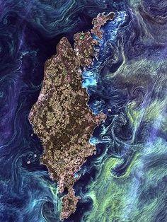 Imagem vencedora tem estilo de uma pintura impressionista do Van Gogh. Foto: NASA''s Goddard Space Flight Center/USGS/BBC Brasil