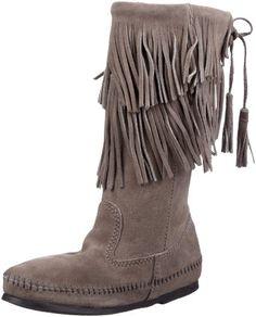 Minnetonka Women's Angled Fringe Inside Zip Boot