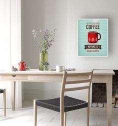 Coffee quote print with a retro touch ideal for any room in your home or office. Its a great present for any coffee lover like me!  Also available in light colours: https://www.etsy.com/uk/listing/161842660  The copyright information will NOT appear on your print.  Heavyweight archival art paper printed using archival pigment inks for a lifetime. Each piece is a one-off giclee fine art print of museum quality (not a mass-produced poster).  Please select which size and colour you would like…