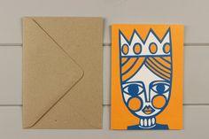Queen linocut greetings card by WorkOnPaperStudio on Etsy, £2.95