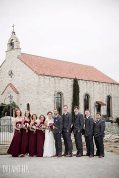 pink maroon winter wedding bouquet, platinum petals, mix and match long maroon alfred angelo bridesm Maroon Bridesmaid Dresses, Winter Bridesmaids, Bridesmaids And Groomsmen, Bridesmaid Bouquets, Wedding Bouquets, Wedding Dresses, Bridal Musings, Burgundy Wedding, Lace Wedding