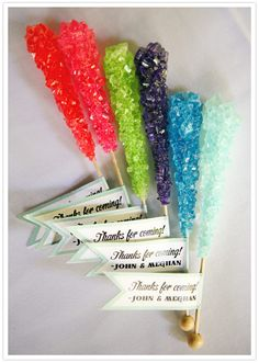Colorful rock candy favors