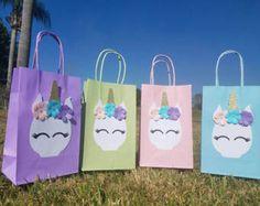 12 bolsas de favor de parte de unicornio