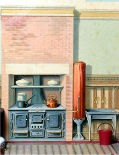GALLERY_OF_IMAGES_4 Paper Doll House, Paper Houses, Antique Dollhouse, Dollhouse Miniatures, Paper Furniture, House Template, Kitchen Stove, All The Small Things, Wainscoting