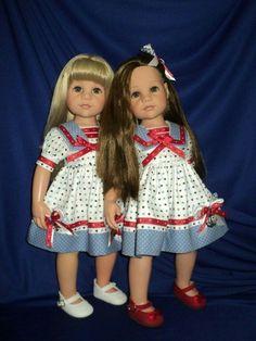American Doll Clothes, Ag Doll Clothes, Gotz Dolls, Knit Shoes, Sailor Dress, Cat Doll, Pretty Dolls, 18 Inch Doll, Knit Dress