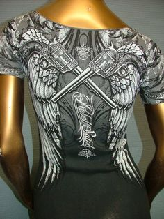 Rebel Saints by Affliction Sexy Rhinestone Guns Sinful T Shirt Tee Top Womens