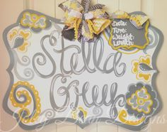 Baby girl door hanger, nursery, hospital door hanger, birth announcement, yellow, grey, Joley Bean Designs