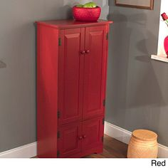 Kitchen Cabinets Ideas | Tall Kitchen Cabinet  Red  Has Two Fixed and Two Adjustable Shelves >>> Check out the image by visiting the link. Note:It is Affiliate Link to Amazon.