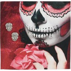 Silver day of the dead sugar skull earrings