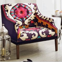 Suzani - upholstered chair oh my! Dream fabric... I have about three chairs I'd love to do this to! !! ! !