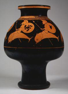 Ψυκτήρ - Terracotta psykter (vase for cooling wine), hoplites riding on dolphins.  Attributed to Oltos, Greek, Attic, ca. 520–510 BCE.