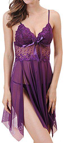 SIQIWO Women's Lingerie Lace Nightwear Shoulder Strap Hollow Sleepwear Babydoll V-string Sexy Underwear Sexy Lingerie, Lingerie Babydoll, Purple Lingerie, Jolie Lingerie, Lace Babydoll, Pretty Lingerie, Beautiful Lingerie, Lingerie Sleepwear, Nightwear