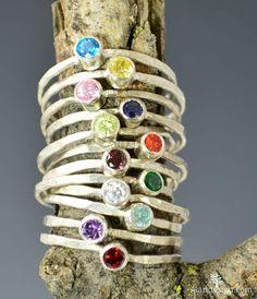 Dainty silver birthstone rings.  #birthstone #alari #silver