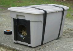 A shelter for outside cats.  Take two sizes of totes, placing the smaller one inside the larger one and insulating the space in-between.  Drill drainage holes in the bottom, and place warm, dry bedding inside.  It was recommended not to place house by the feeding area, to avoid intruders,  raccoons etc...  Also, possibly placing an old swimming pool cover over top of everything to collect the heat from the sun.