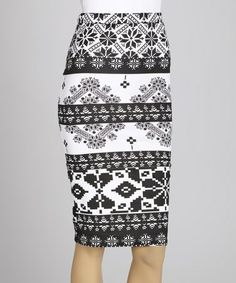 Take a look at this Black & White Tribal Midi Skirt by MOA Collection on #zulily today!