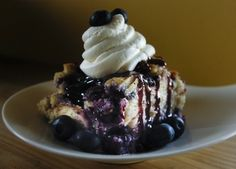 Insanely rich and amazing: Blueberry Love Bread Pudding recipe from Swirl on the Square in the #livermorewine country.