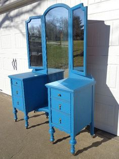 Antique Painted Wood Vanity Desk Shabby Chic by DejaVuDecors