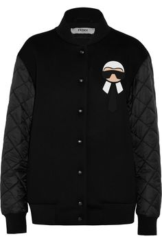 2419b475dd11 Fendi - Karlito Jersey And Quilted Shell Down Bomber Jacket - Black -