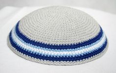 kippah light gray with blue light blue  and white by crochetkippah