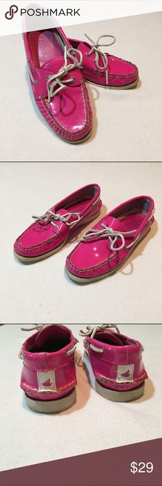 Sperry Topsiders Patent Bright Pink Gently used - no flaws found upon inspection and photographing- see photos. Smoke free, pet friendly. Sperry Top-Sider Shoes Flats & Loafers