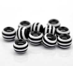 100 Round Black and White Striped Beads  10mm  bulk wholesale package by SmartParts, $7.99