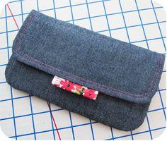 Fabric tab on flap  Denim clutch