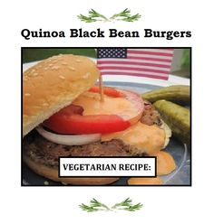 """Quinoa Black Bean Burgers """"These vegetarian burgers are delicious! My favorite way to serve is on a whole-wheat bun with garlic-lemon mayonnaise, fresh raw spinach, sliced tomato, and caramelized onions! Burger Recipes, Vegetarian Recipes, Vegetarian Burgers, Healthy Recipes, Quinoa Burgers, Veggie Burgers, Diabetic Recipes, Healthy Meals, Black Bean Quinoa Burger"""
