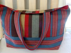 Large Upholstery Tote Blue Brown Red Stripes by BAGSbyMartha, $60.00