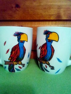 Handmade by Do : Parrot painted cups/ Căni pictate cu papagali On October 3rd, July 4th, Parrot Painting, Greek Pattern, Ceramic Angels, Painted Cups, Flower Stands, Coffee Set, Hand Painted Ceramics