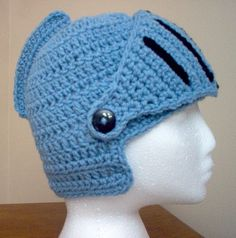 Crochet Blue Steel Knight Helmet