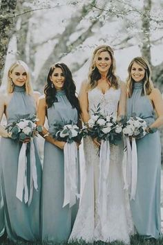 Dusty Blue Chiffon Bridesmaid Dresses with Halter – perfectdress Wedding Bridesmaid Dresses, Wedding Gowns, Wedding Bands, Sage Green Wedding, Bridal Party Robes, Theme Noel, Decoration, Wedding Colors, Wedding Flowers