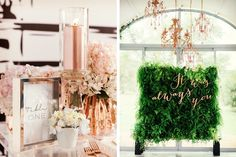 Decoración de boda en color rose gold