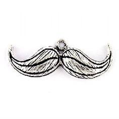 Moustache Charm Antique Silver