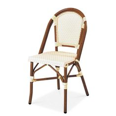 PARIS 1 Stacking Dining Arm Chair  AC3501N01RAT Width: 18 7/8″ Depth: 20 7/8″ Height: 35 3/8″ Seat Height: 17 3/4″  Aluminum Tube Wicker: Ivory Weaving Style: 2×2 Finish: Dark Bamboo