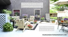 DIY patio makeover on a budget {How to repair an old cracked cement patio tutorial} before & after via FourGenerationsOneRoof.com