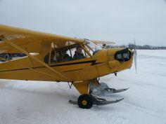 J-3 Cub on skis. #taildraggers