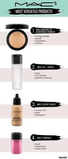 Mac's Most Versatile Beauty Products: Mac Mineralize SkinFinish Natural | Mac Fix Plus Spray | Mac Lustre Drops | Mac Pigments |  These products are great because they work as two or three products in one. Take the powder and double it up as an eyeshadow or take the tint drops and use it as a highlighter.